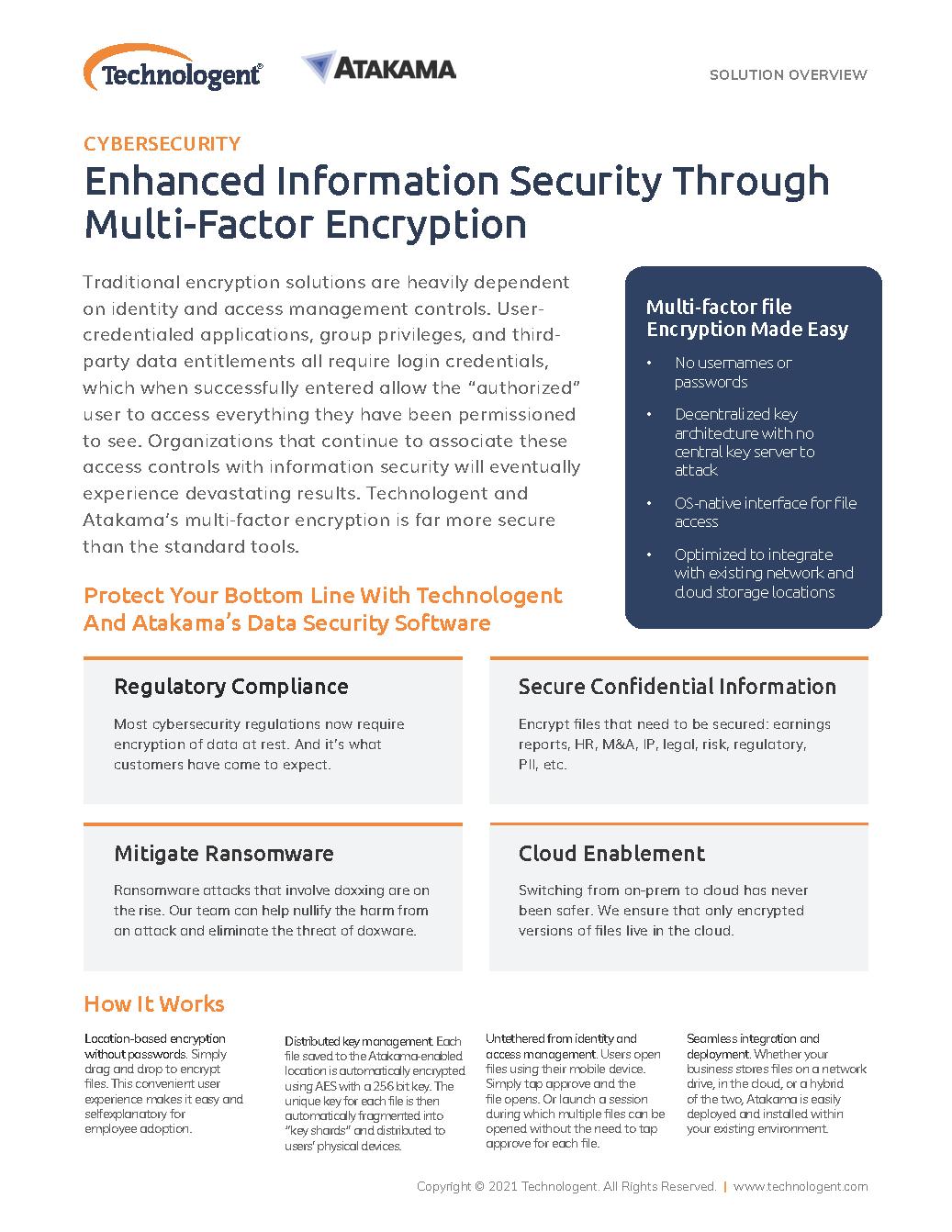 Technologent - Atakama Enhanced Information Security Through Multi-Factor Encryption 2021